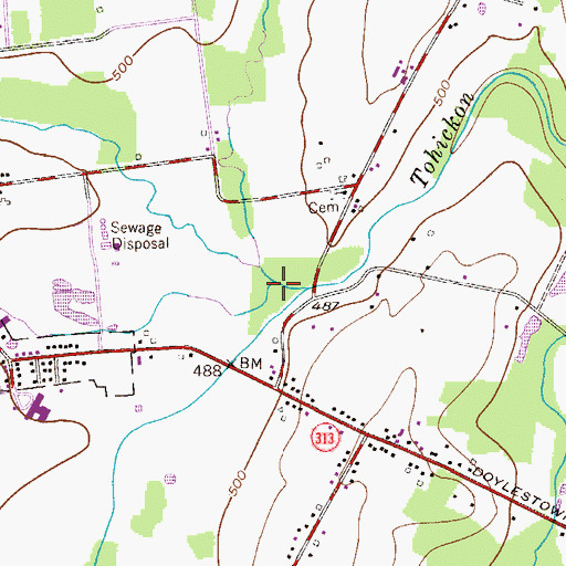 Topographic Map of Beaver Run, PA