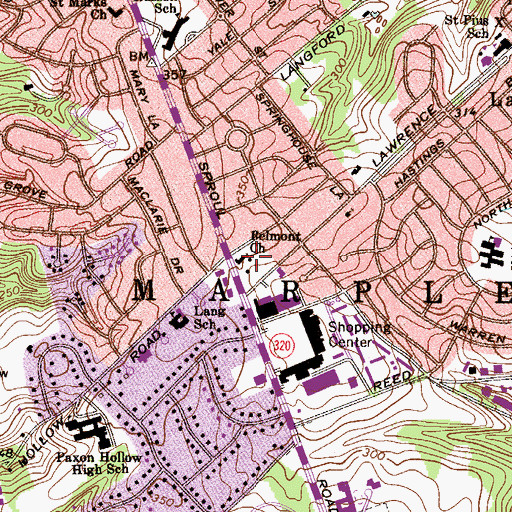 Topographic Map of Belmont Church, PA