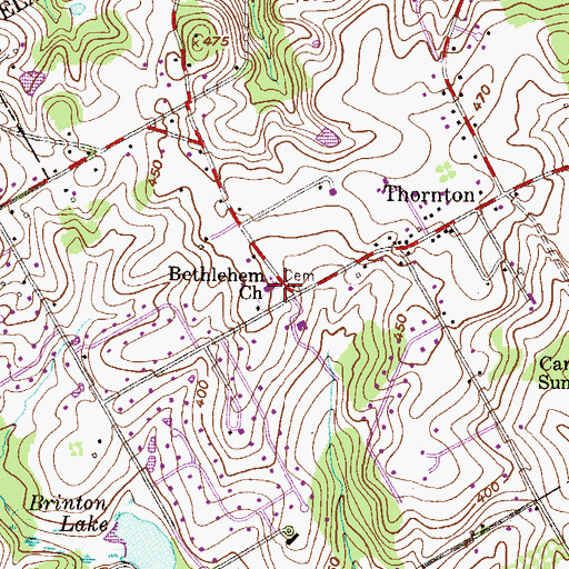 Topographic Map of Bethlehem Church, PA
