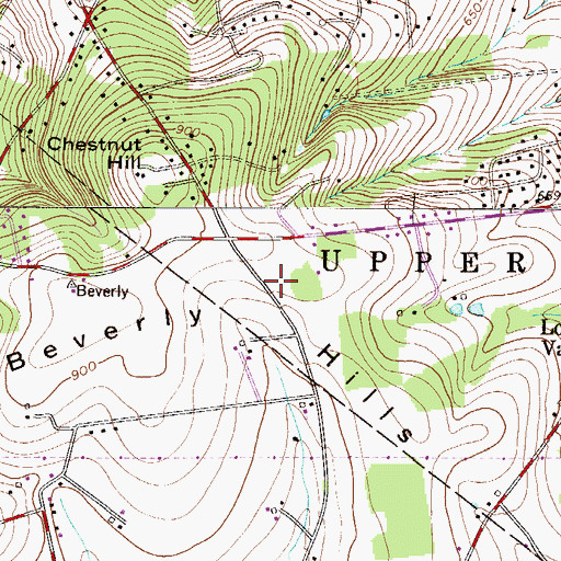 Topographic Map of Beverly Hills, PA