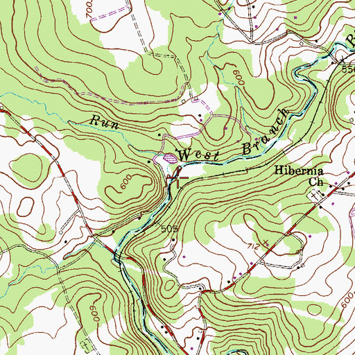 Topographic Map of Birch Run, PA