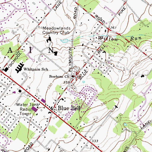 Topographic Map of Boehms Church, PA