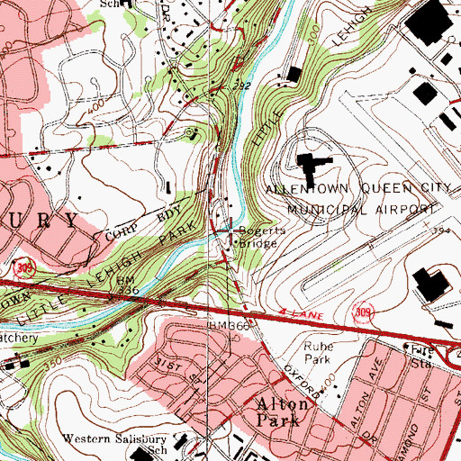Topographic Map of Bogerts Bridge, PA
