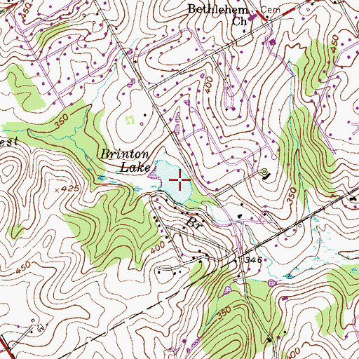 Topographic Map of Brinton Lake, PA