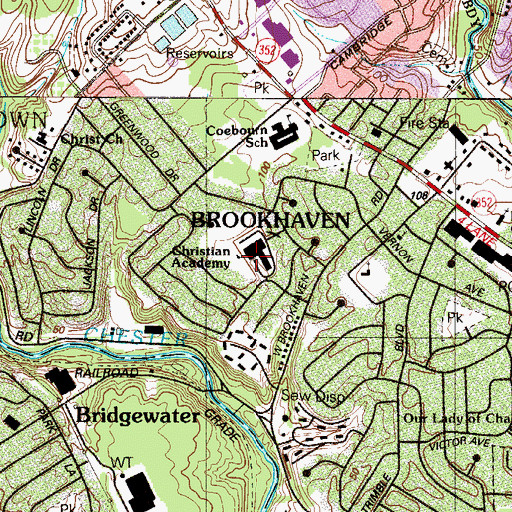 Topographic Map of Brookhaven Junior High School, PA