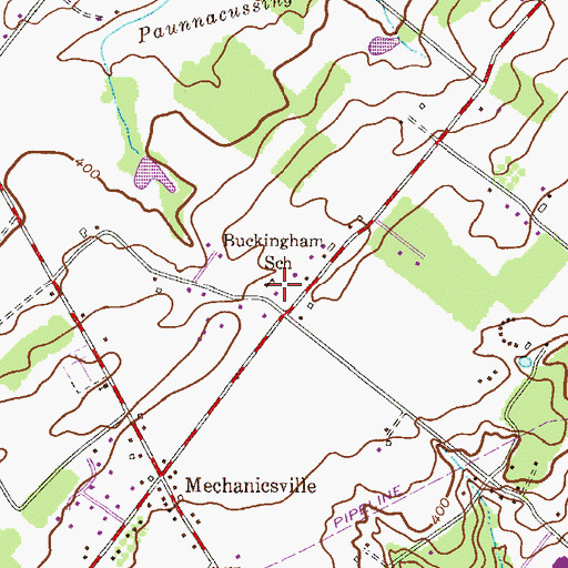 Topographic Map of Buckingham School (historical), PA