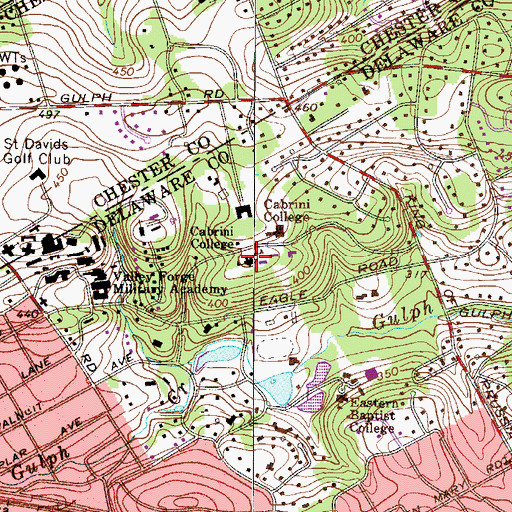 Topographic Map of Cabrini College, PA