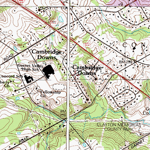 Topographic Map of Cambridge Downs, PA