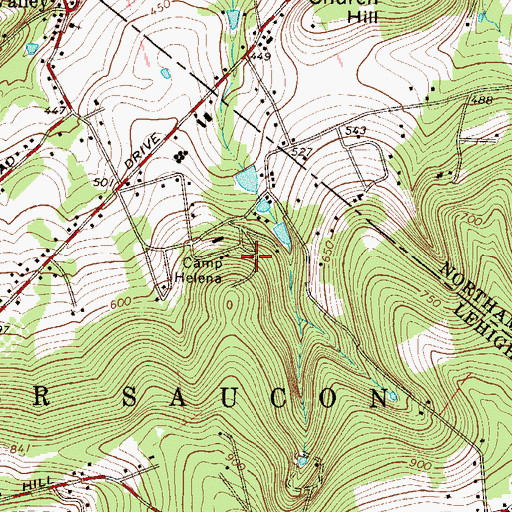 Topographic Map of Camp Helena, PA