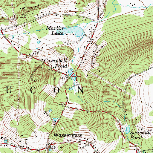 Topographic Map of Campbell Pond, PA