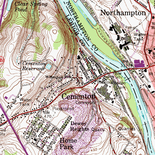 Topographic Map of Cementon Reservoir, PA