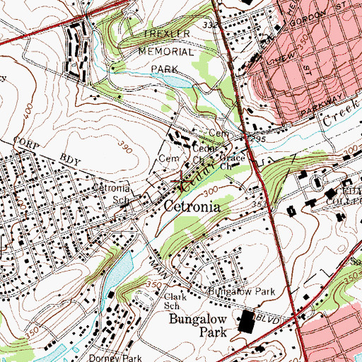 Topographic Map of Cetronia, PA