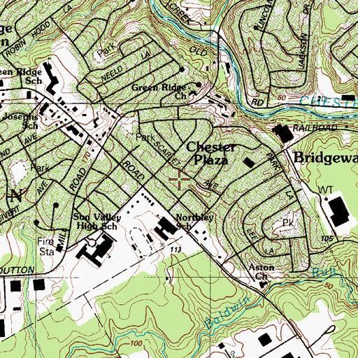 Topographic Map of Chester Plaza, PA