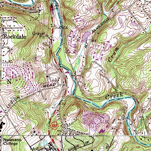 Topographic Map of Chrome Run, PA