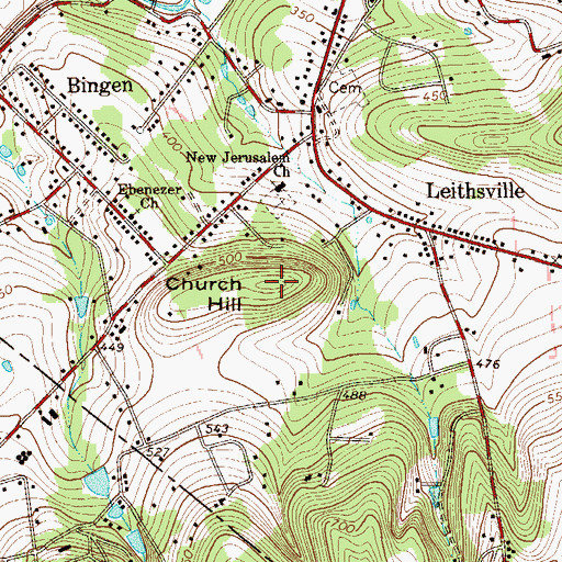 Topographic Map of Church Hill, PA