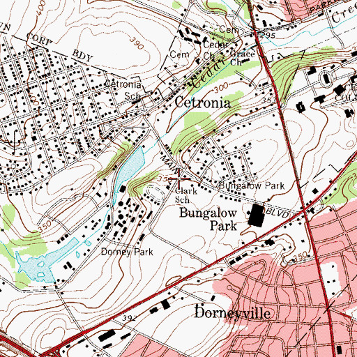 Topographic Map of Clark School, PA