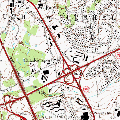 Topographic Map of Crackersport, PA