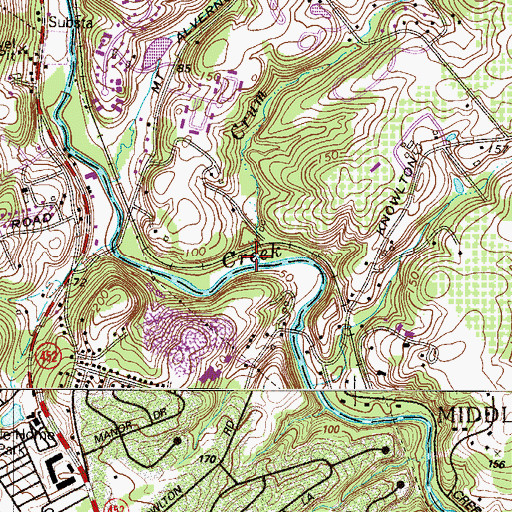 Topographic Map of Crum Run, PA