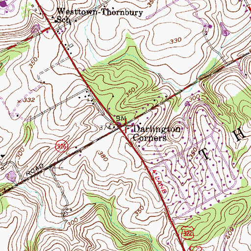 Topographic Map of Darlington Corners, PA