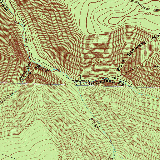 Topographic Map of Dennison Fork, PA
