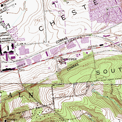 Topographic Map of Devereux School, PA