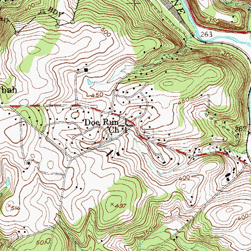 Topographic Map of Doe Run Church, PA