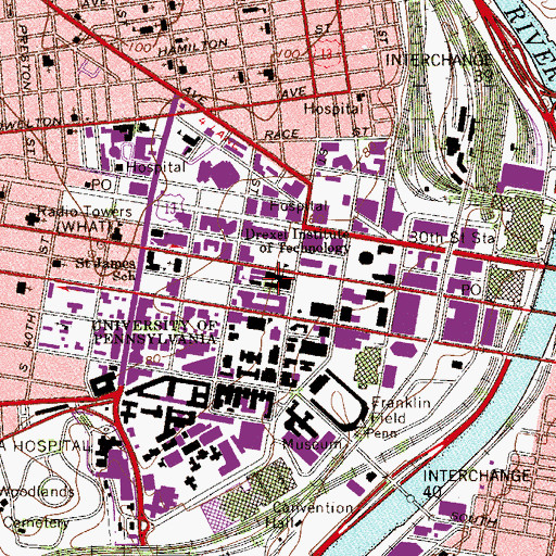 Topographic Map of Drexel University, PA