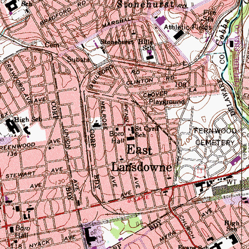 Topographic Map of East Lansdowne, PA