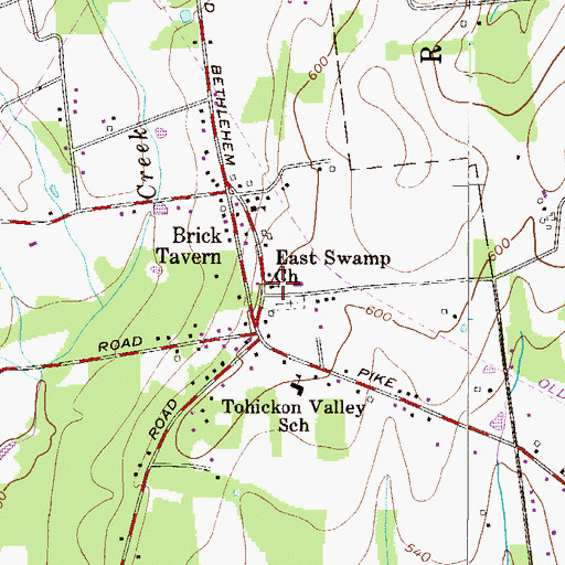 Topographic Map of East Swamp Church, PA