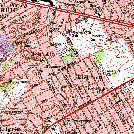 Topographic Map of Ebenezer Church, PA