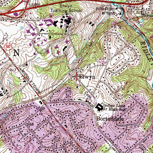 Topographic Map of Elwyn, PA