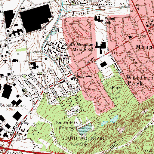 Topographic Map of Emmanuel Church, PA