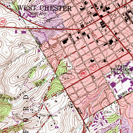 Topographic Map of Everhart Park, PA