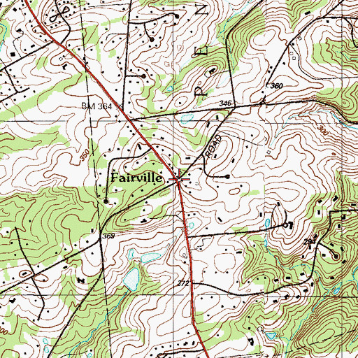 Topographic Map of Fairville, PA