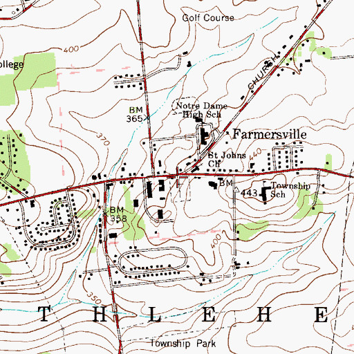 Topographic Map of Farmersville, PA