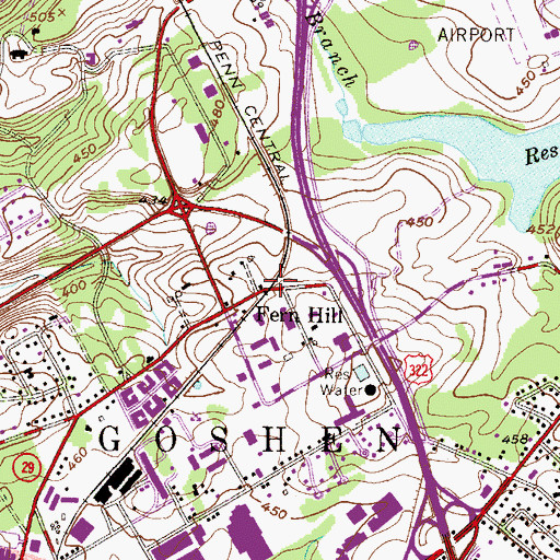 Topographic Map of Fern Hill, PA