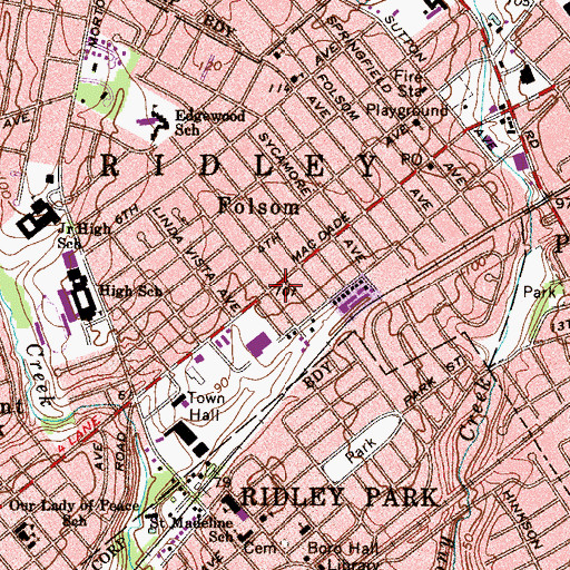 Topographic Map of Folsom, PA