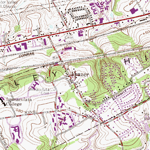 Topographic Map of Frazer, PA