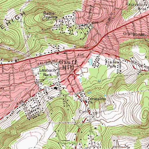 Topographic Map of Gauff Hill, PA