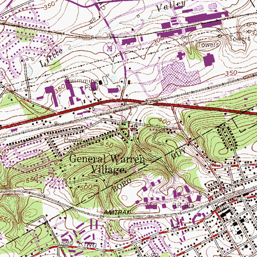 Topographic Map of General Warren Village, PA