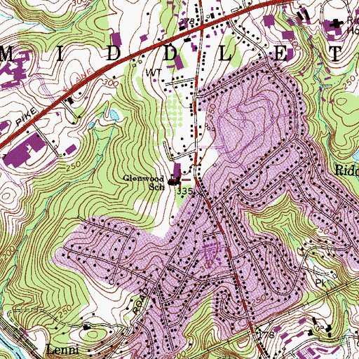 Topographic Map of Glenwood School, PA