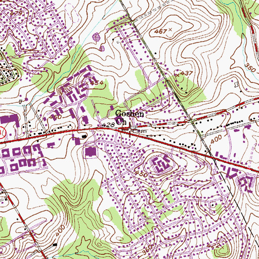 Topographic Map of Goshen Church, PA