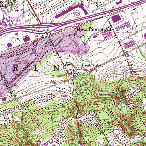 Topographic Map of Great Valley Church, PA