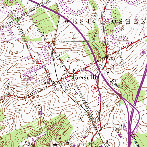 Topographic Map of Green Hill, PA