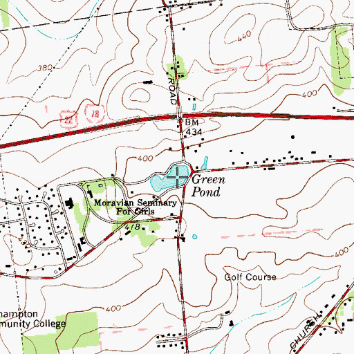 Topographic Map of Green Pond, PA