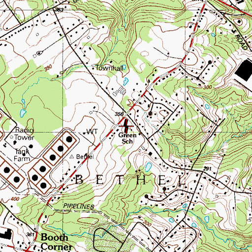 Topographic Map of Green School, PA