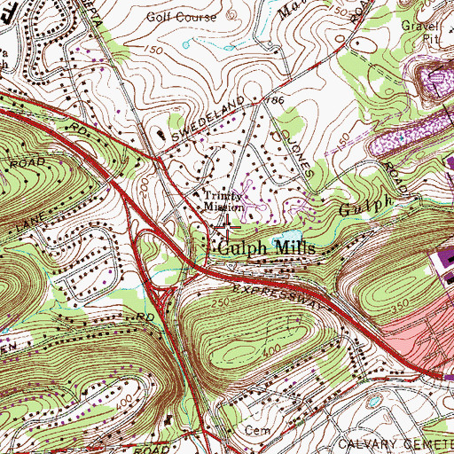 Topographic Map of Gulph Mills, PA