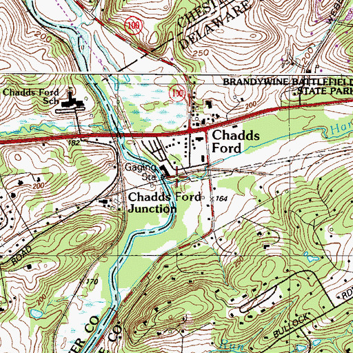Topographic Map of Harvey Run, PA