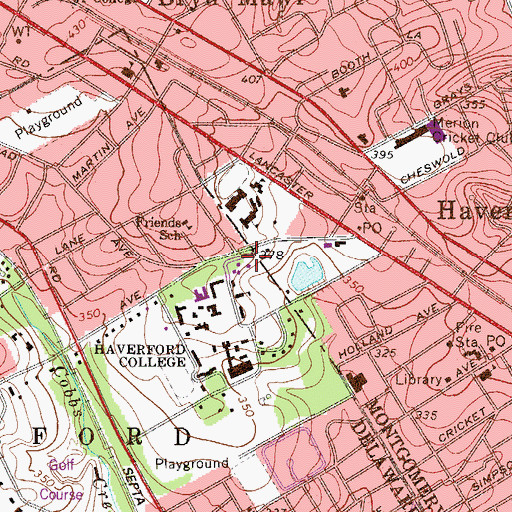 Topographic Map of Haverford College, PA