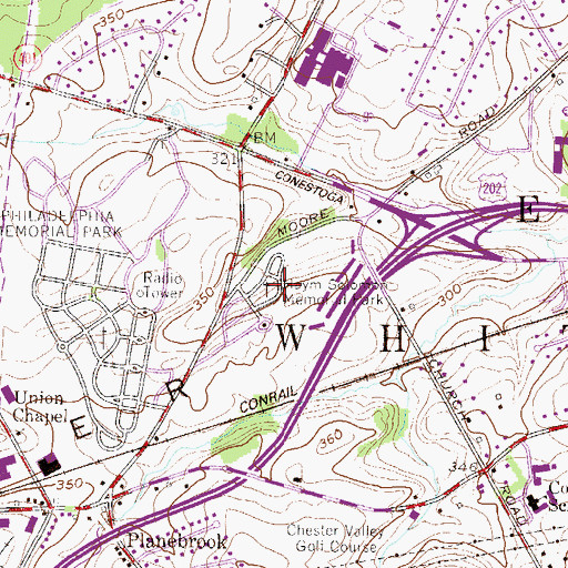 Topographic Map of Haym Solomon Memorial Park, PA